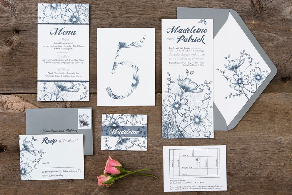 toronto wedding invitations%0A floral drawing wedding invitations  Laura K Invitations