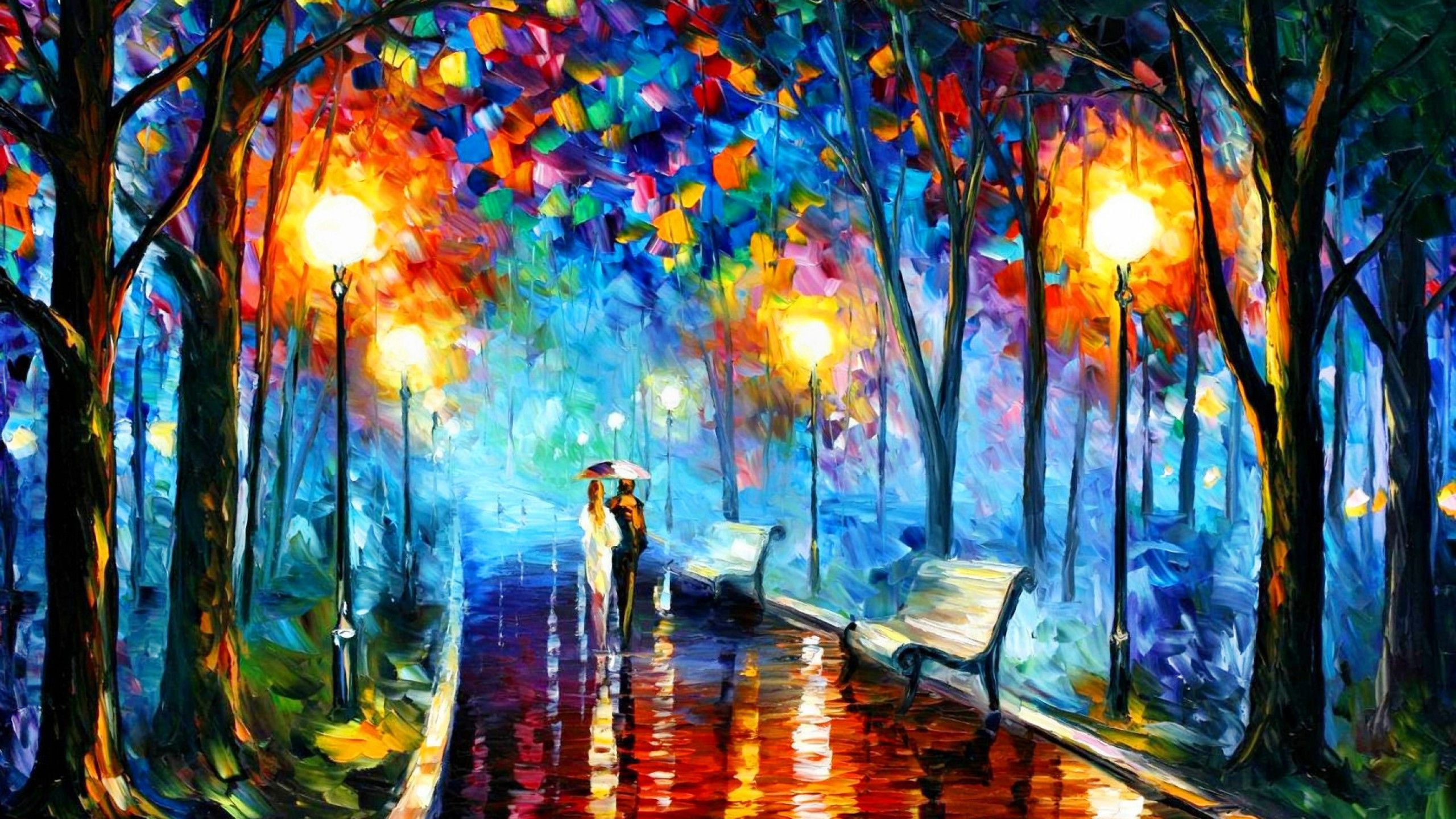 Night in the park living art boutique beautiful art for Best mural artists