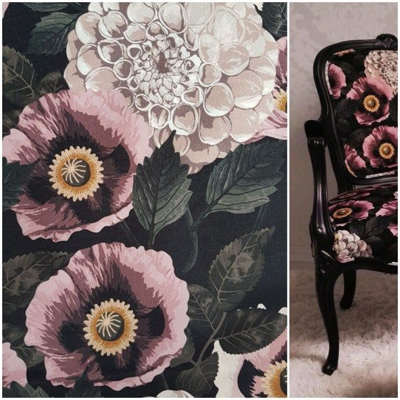 Printed velvet upholstery fabric 250g/m2 Dhalia and dusty pink poppy flowers #velvetupholsteryfabric