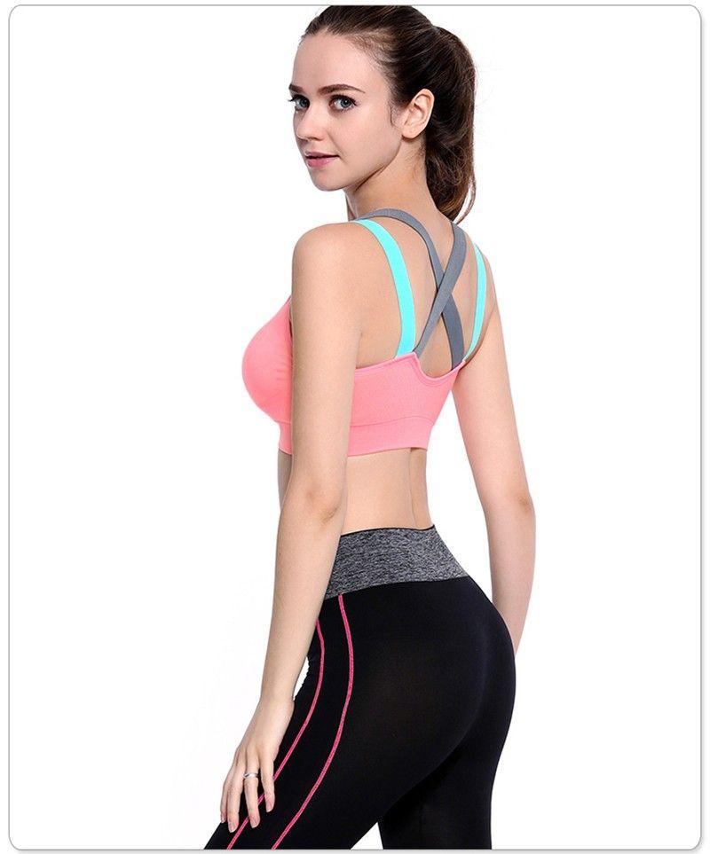 Women Sports Bra Yoga Cross Back Fitness Shockproof Seamless Tank Top Bra