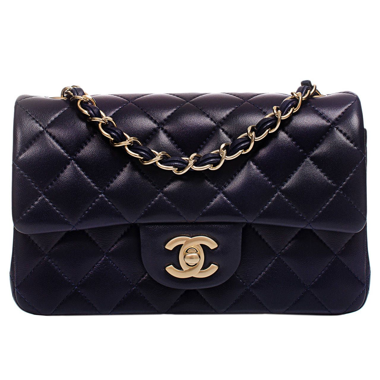 Chanel Navy Quilted Lambskin Small Classic 2 55 Flap Bag From A Collection Of Rare Vintage Handbags Chanel Small Classic Chanel Bag Classic Chanel Small Bag
