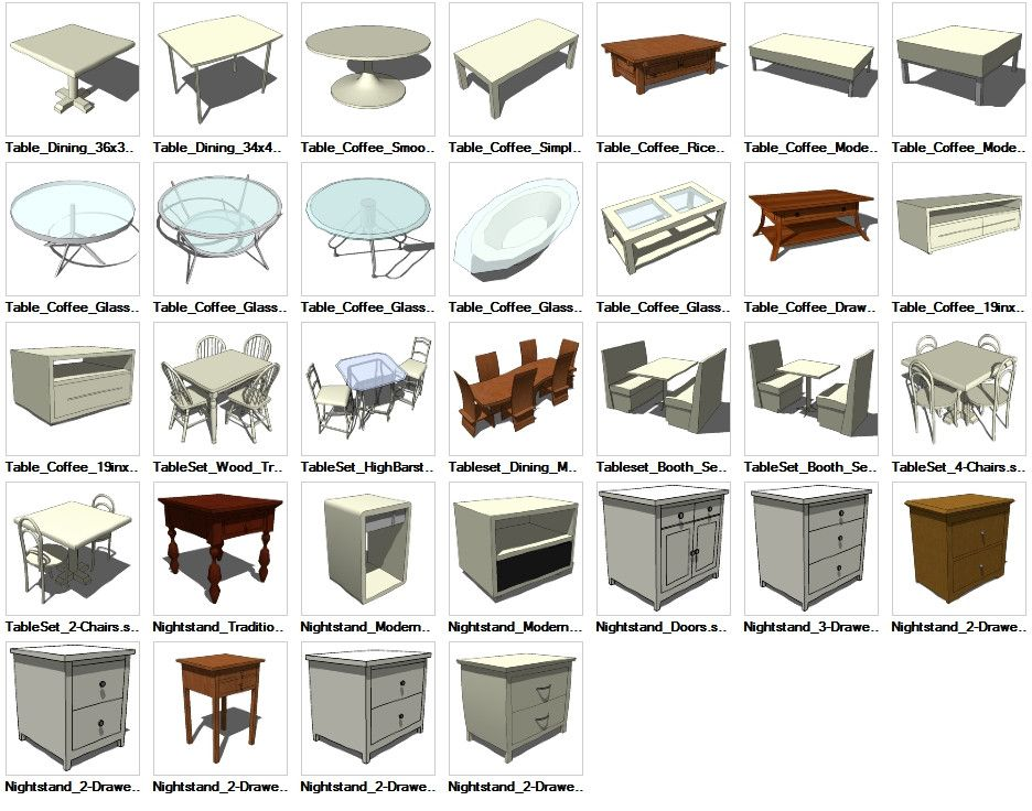 Sketchup Table 3D models download Square dining tables