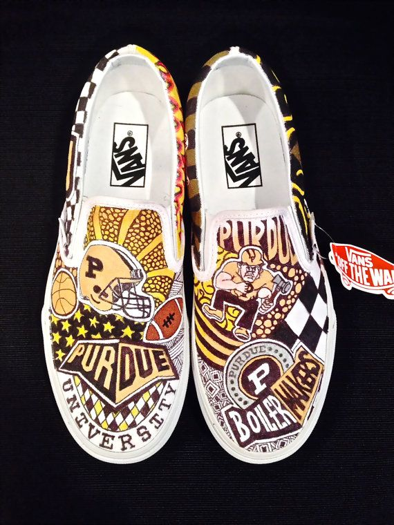 ead16d8089cf Customized College Slip On Vans College Shoes
