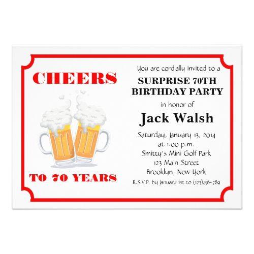 cheers surprise 70th birthday party invitations birthday