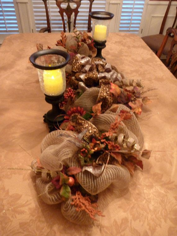 Deco Mesh THANKSGIVING TABLE CENTERPIECE by decoglitz on Etsy Home