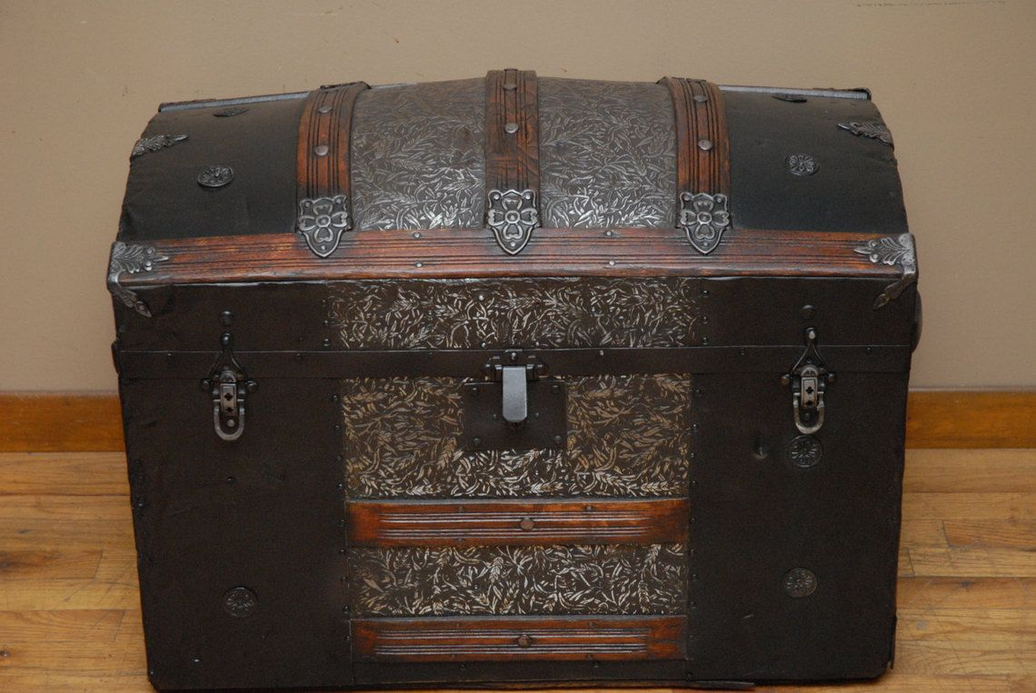 Beautifully Restored Antique Arch Top Steamer Trunk Chest Antique Trunk Steamer Trunk Antique Steamer Trunk