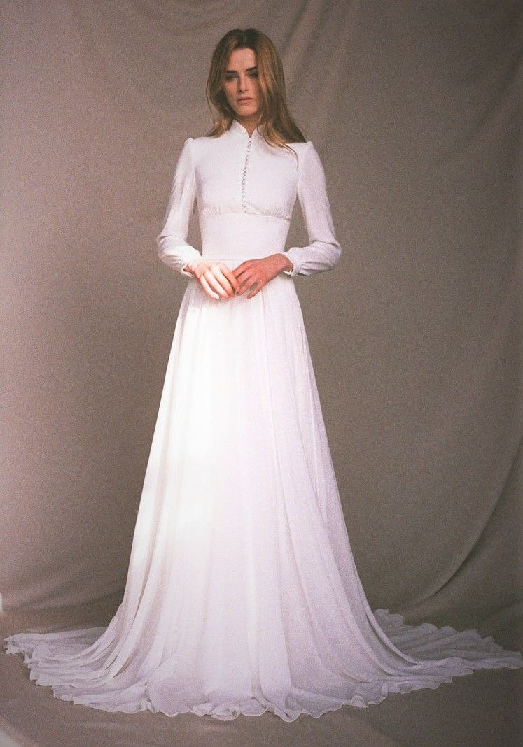 Long Sleeve Wedding Dress Chiffon Wedding Dress Button Up Etsy Long Sleeve Wedding Dress Vintage Modest Long Sleeve Wedding Dresses Wedding Dress Vintage Sleeves [ 1068 x 747 Pixel ]