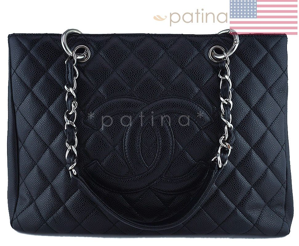 a9ed7d9688fd Chanel Black Caviar Classic Grand Shopper Tote GST Shopping Bag SHW 62368