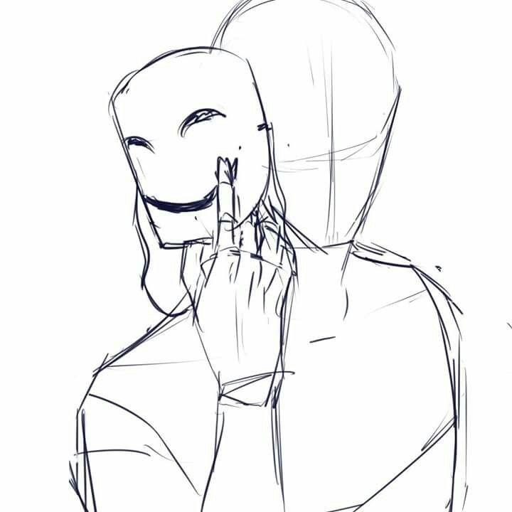 una persona con una mascara como desenhar pinterest esboço