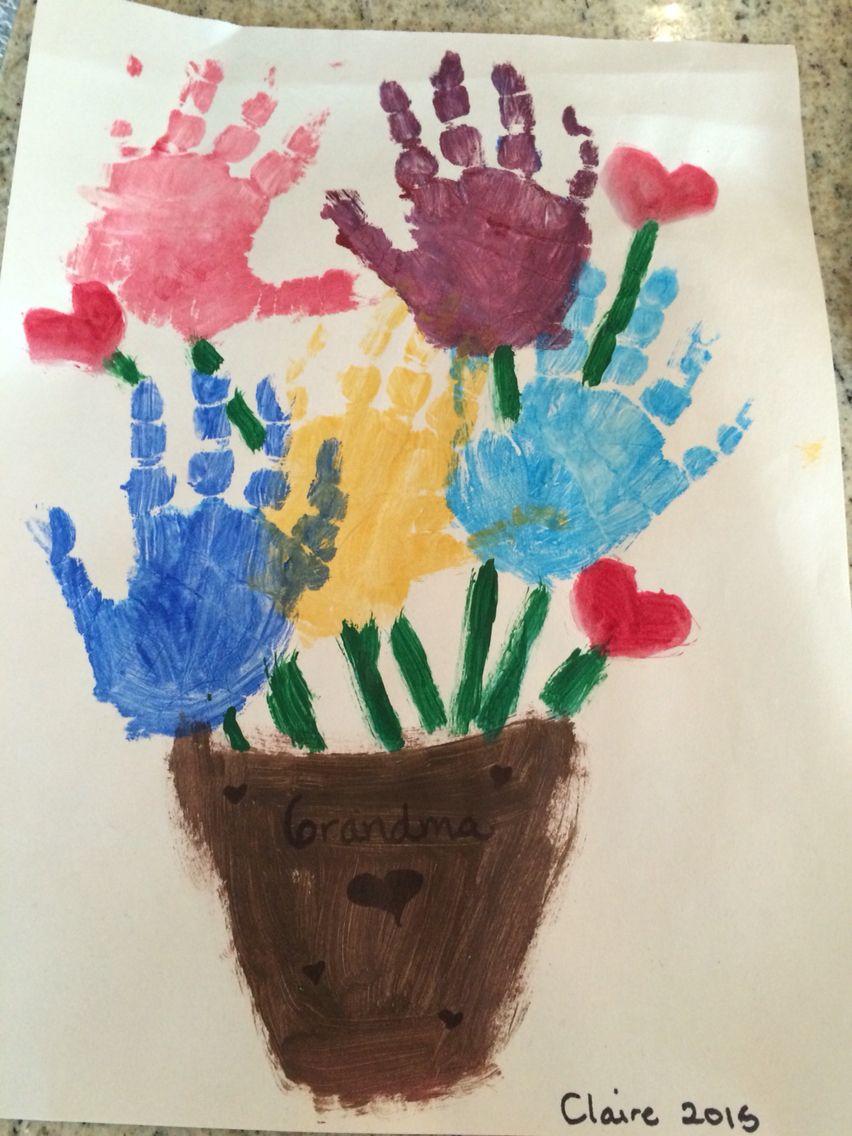 Bouquet of flowers handprint art. Handprint art.   Toddler art ...