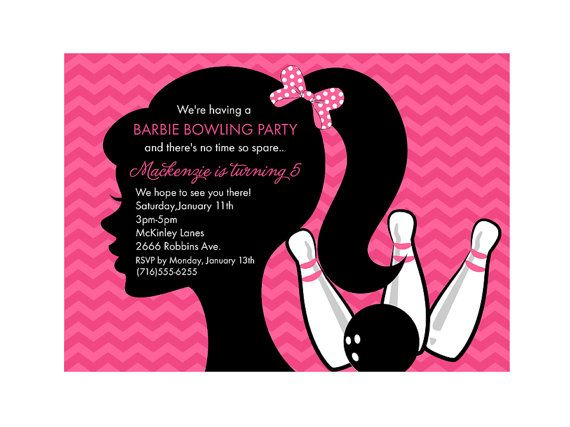Barbie Bowling Party Birthday Party Invitation Party Ideas - bowling invitation