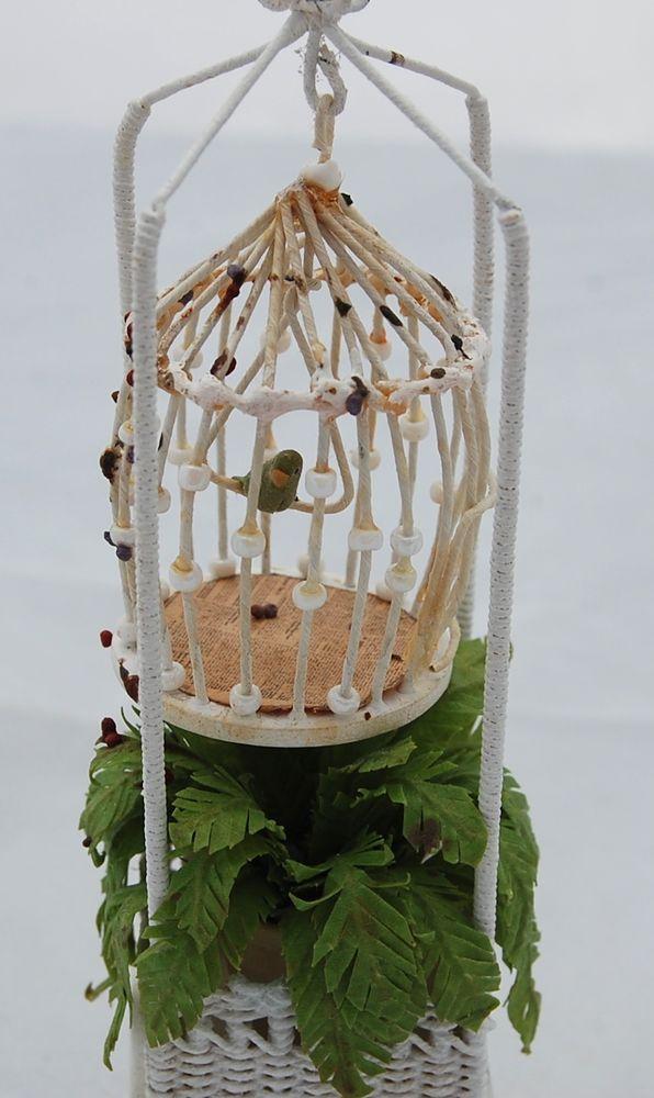 Vtg Dollhouse Miniature Wicker Bird Cage Plant Stand Mac Lee McCurly Artisan