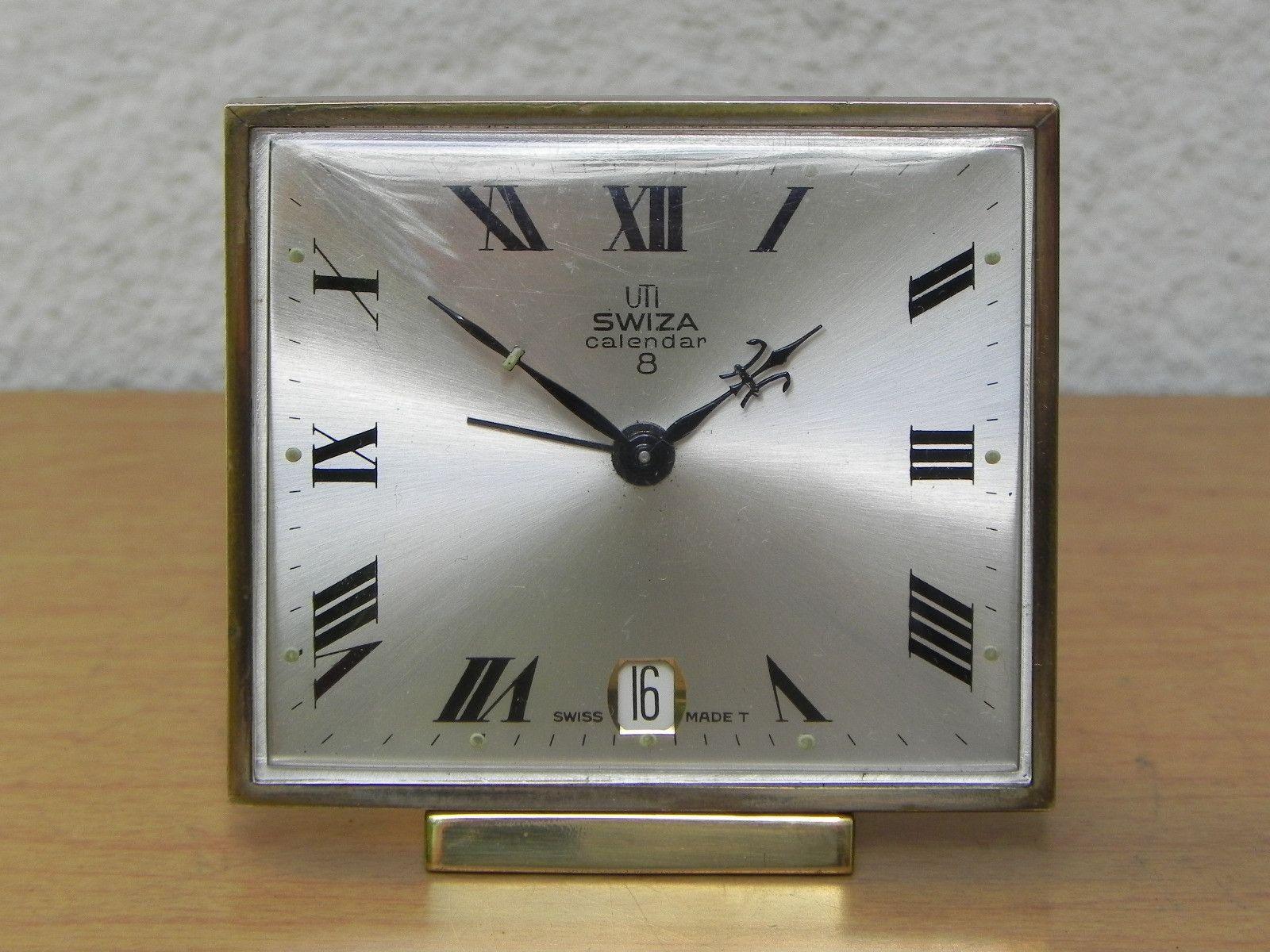 Calendar Clock Wallpaper : Small square swiza 8 day calendar alarm clock with date clocks