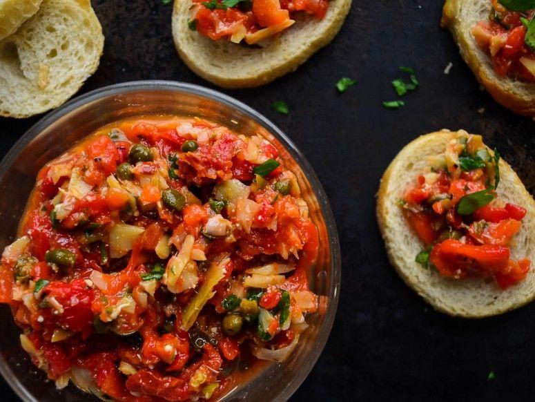 Roasted Red Pepper Artichoke Bruschetta for effortless summer entertaining