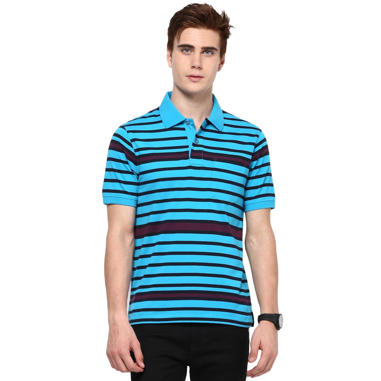 8602e84ff3618 Royal Blue, Black and Navy Blue Striped Rugby MUDO Polo T-Shirts ...