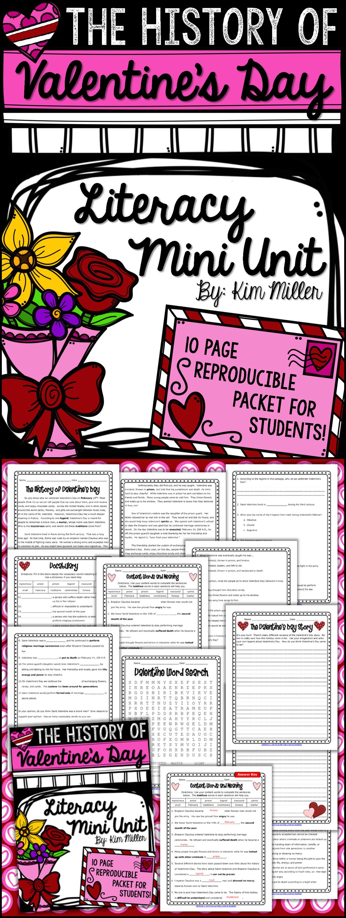 The History Of Valentine S Day Literacy Mini Unit
