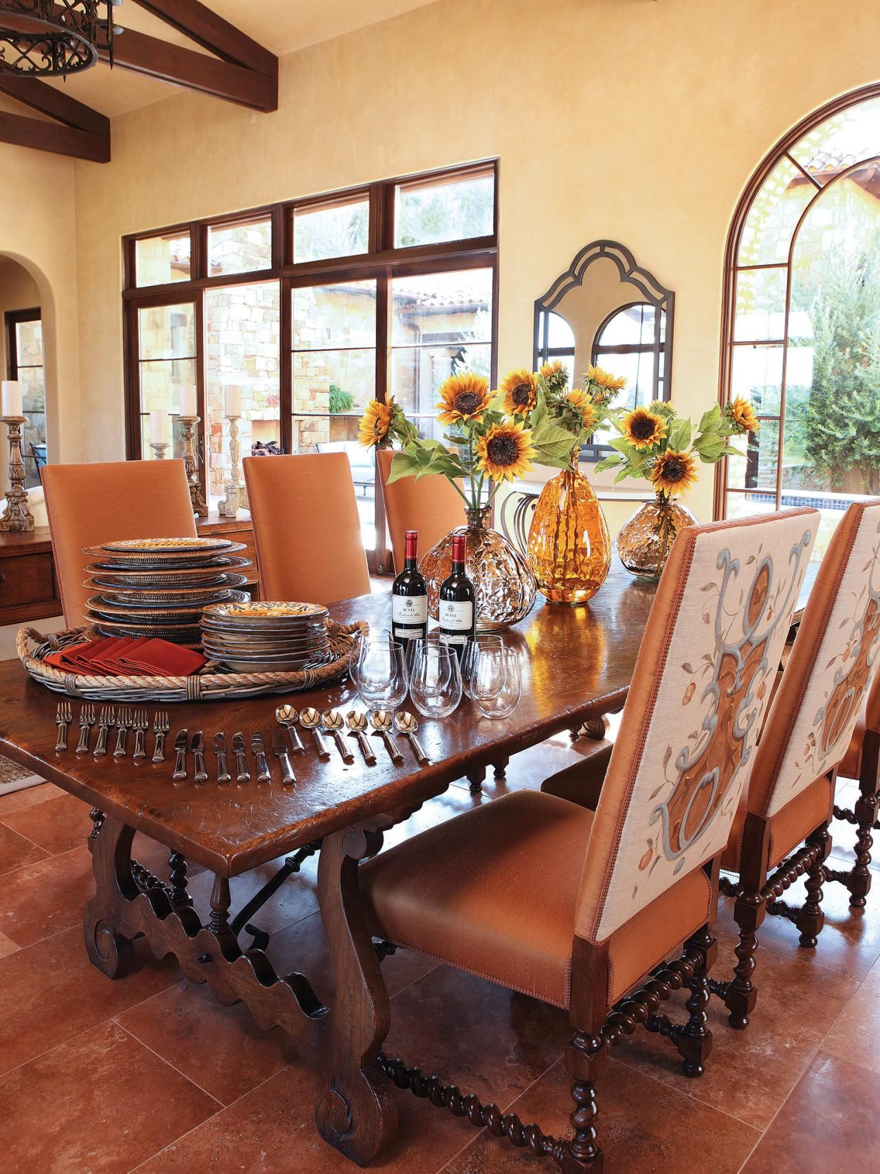 Elm Dining Table In Mediterranean Inspired Dining Room Country Dining Rooms French Country Dining Room Tuscan Dining Rooms