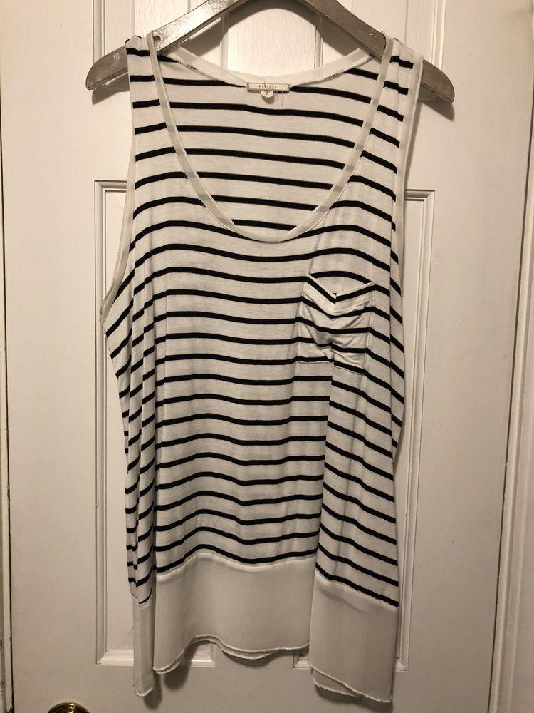 e9f08fe3da5bf4 Women's Pleione by Nordstrom S/L White/Black Striped Mixed Media Top size  Medium | eBay