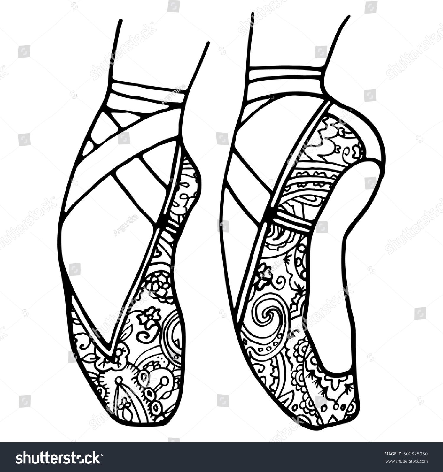 Ballet Shoes Pointe Adult Coloring Book Page Black And White