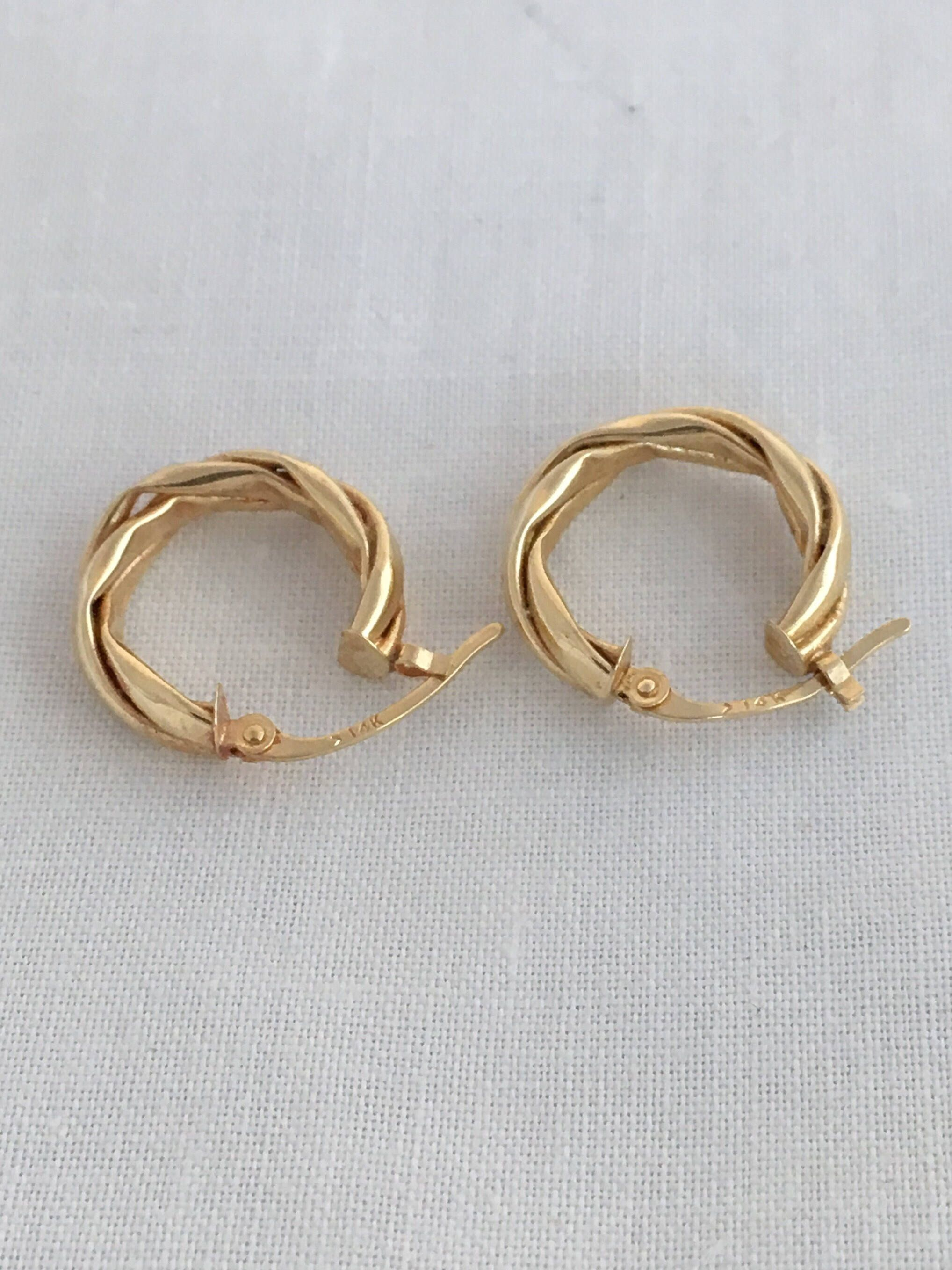 ea1932d5a Excited to share the latest addition to my #etsy shop: Stunning 14K Gold  585 Hoop Tubolar Earrings Torsade Twist Design Hallmark