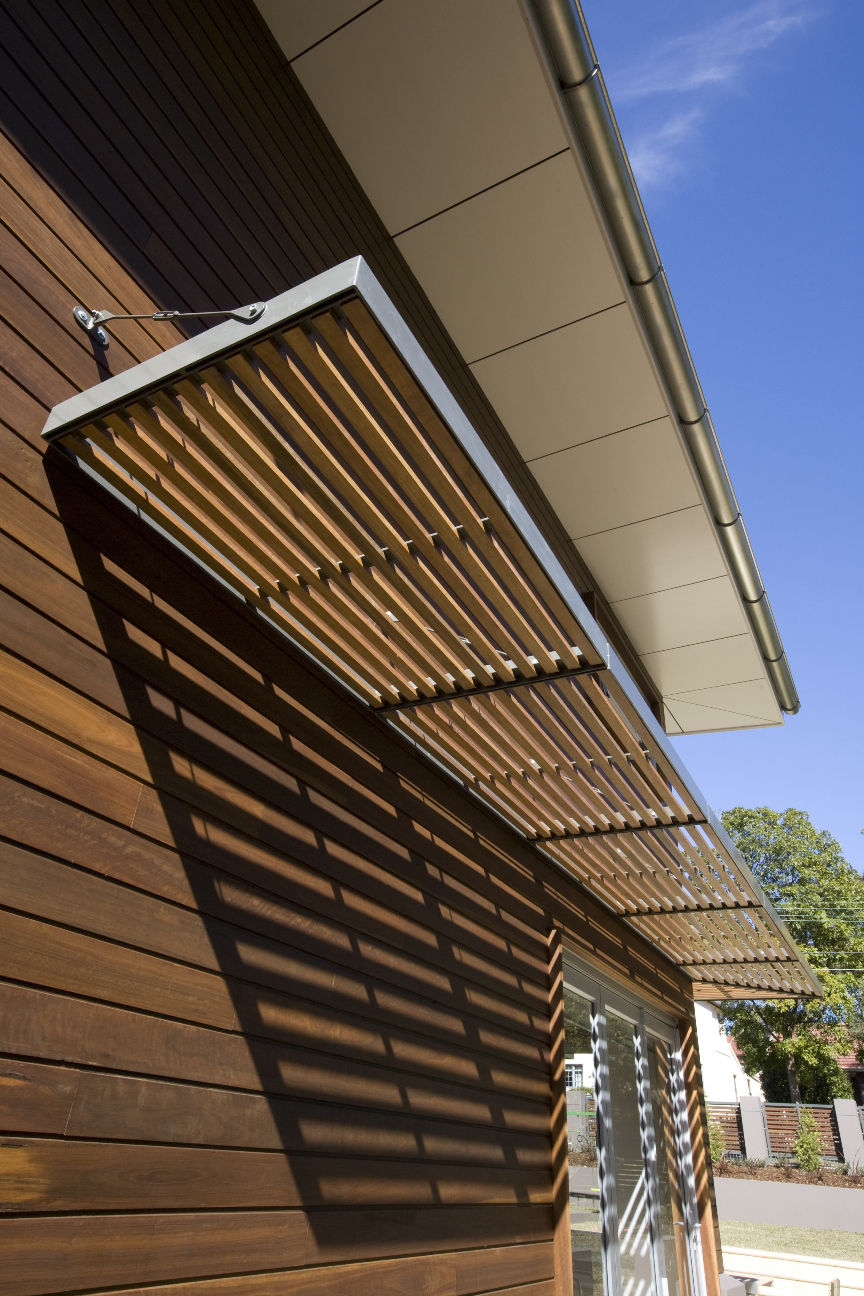 Awning Metal Frame With Wooden Slats Structural Garden