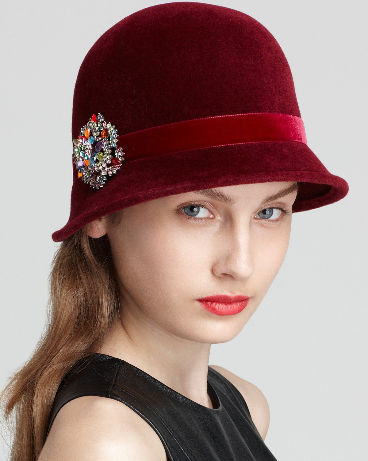 Kathy Jeanne Velour Cloche With Pin Bloomingdales