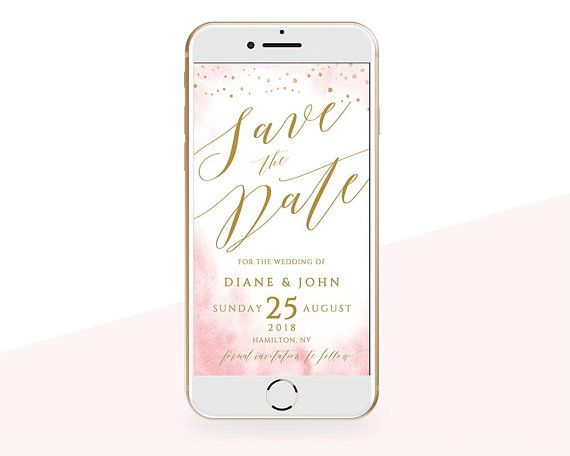 Electronic Save The Date Invitation Editable Templett Wedding Rose - Electronic save the date template