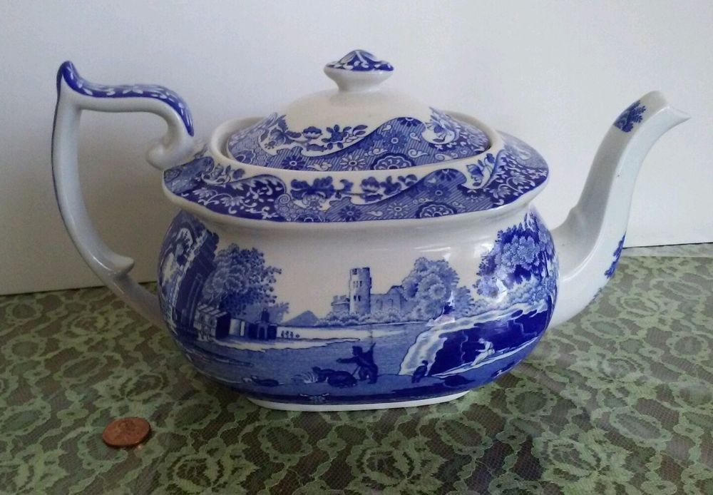One Spode Blue Italian Tea Pot , Coffee Server. Made in