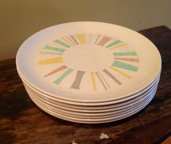 Modern Kitchen Plates: Mid Century Vernonware Anytime Pattern 8 Large Dinner