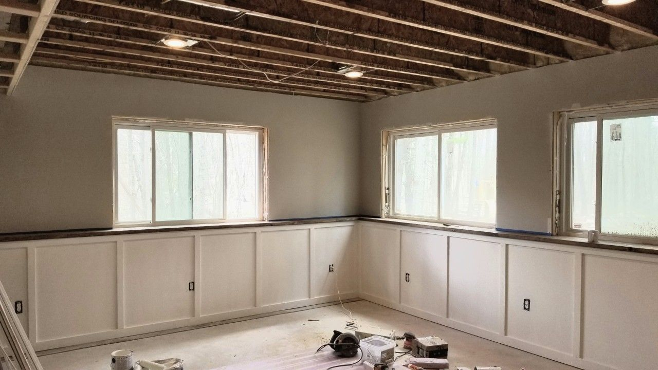 Basement Reno Basement Living Rooms Finishing Basement Half Walls