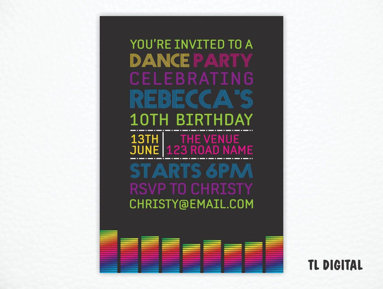 Dance Party Invitation - Rainbow Colours - Black light party invite ...