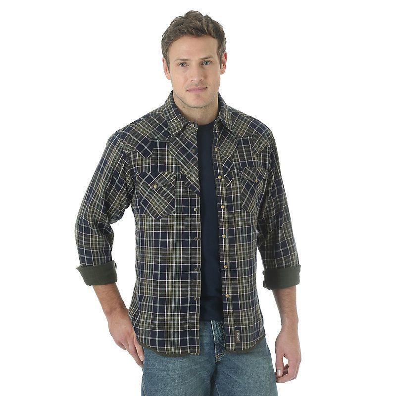 Wrangler Men's Long Sleeve Spread Collar Plaid Shirt:NavyOlive (Size: Medium) Blue