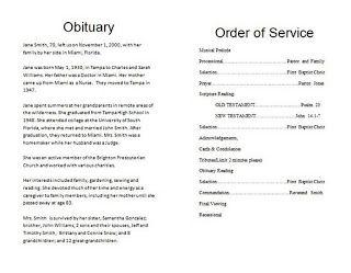 funeral program obituary template | End of Life | Pinterest