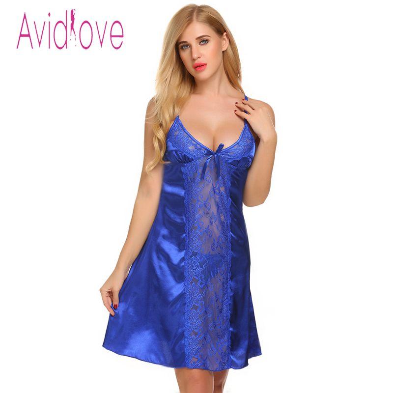 8222afa2be4 Avidlove Sexy Satin Silk Nightdress V-Neck Lace Nightgown Sleepwear ...