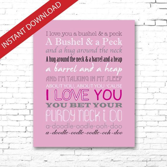 Bushel And A Peck | Printable Song Lyrics Artwork | Pink Colors BUSHEL AND A PECK | Printable Song Lyrics Artwork | Pink Colors Pink Things pink color lyrics