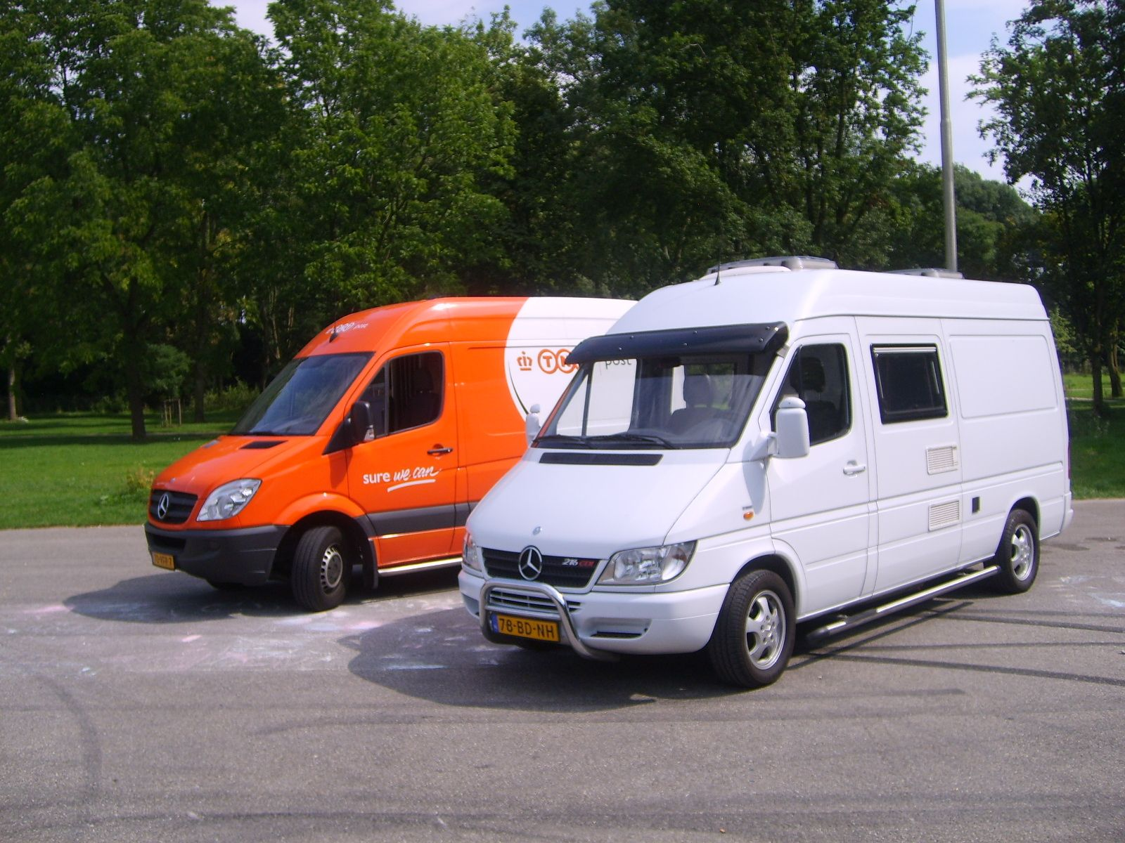 Two Dutch Sprinters, one a commercial van and the other a T1N