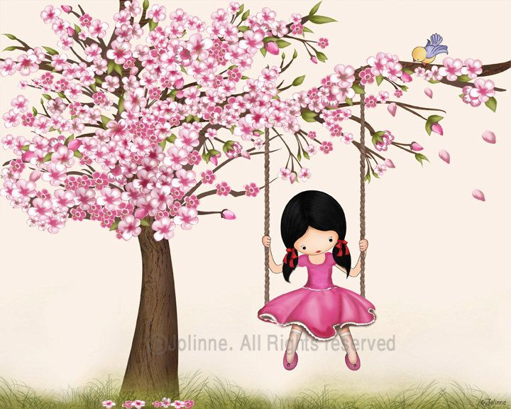 Cherry blossom tree wall art print girls room decor by jolinne