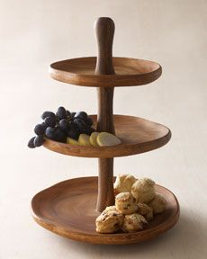 Natural Wood 3 Tier Server Tiered Server Tiered Traditional Platters