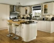 Glendevon Cream Kitchens Have A High Gloss Soft Slab Door With Complete Range Of Matching Curved Units And Accessories For Modern Kitchen Style