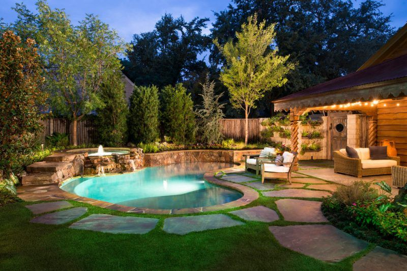 Private swimming pool in the garden: the way to your ...