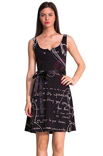 Desigual Chari - Robe - Trapèze - Imprimé - Sans manche - Femme - Noir  (Negro) - FR  36 (Taille fabricant  XS) Desigual ... 7372fc7a3fe3
