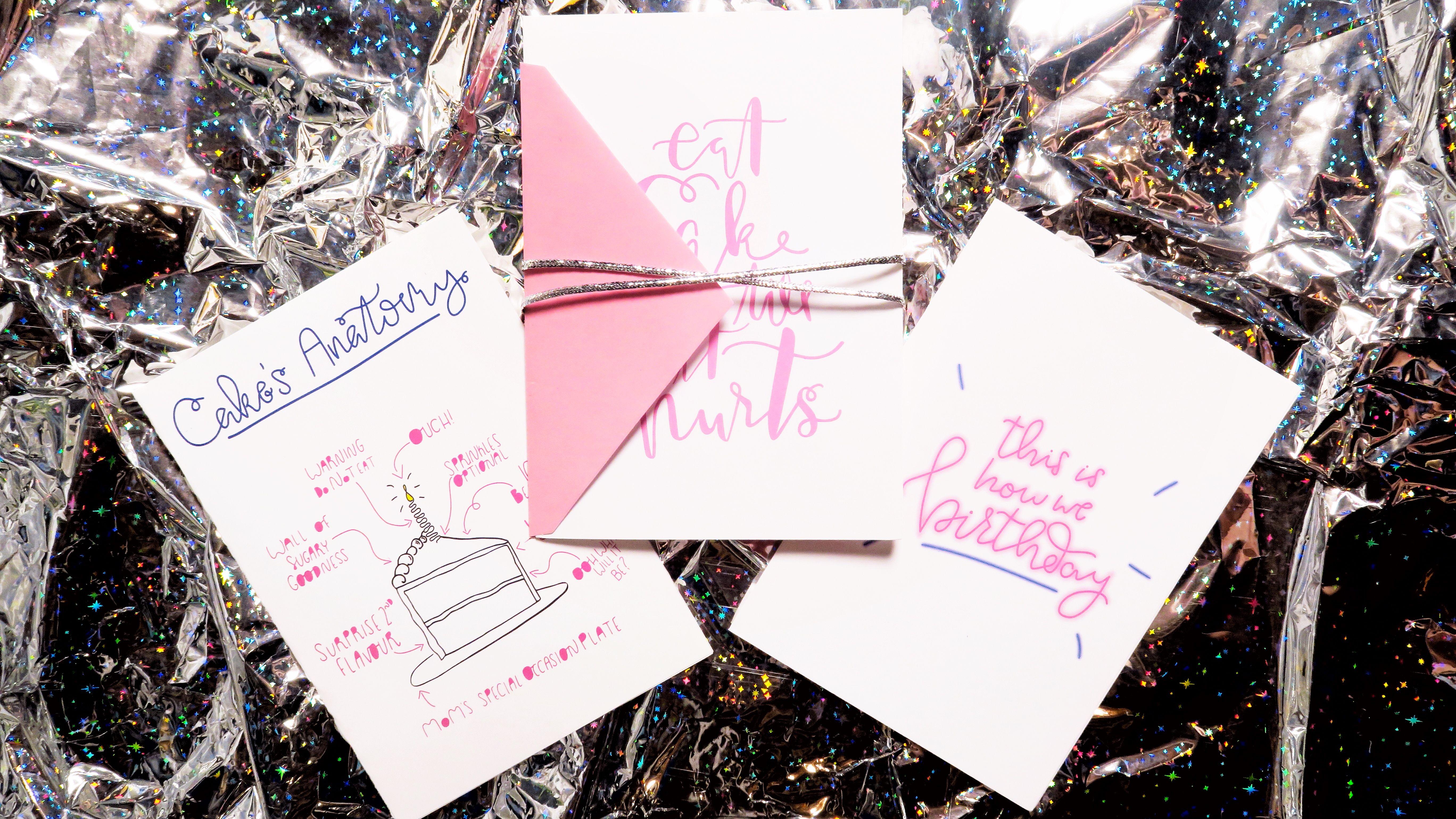 Printable Birthday Stationery Paper ~ Etsy the birthday trio cake's anatomy eat cake till it hurts