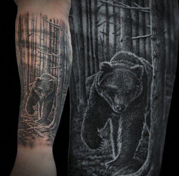 Realistic Bear Forest Mens Forearm Tattoo #Tattoosformen #Bear #Forearm #Forest #mens