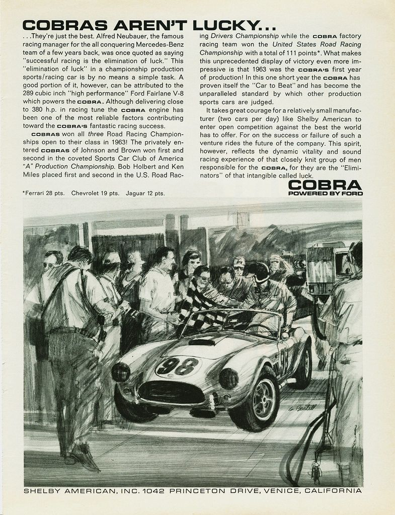 Vintage /& Rare 1963 Shelby American Cobra Ad Better Than Original Print