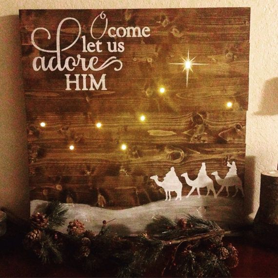 Oh Come Let Us Adore Him Wood Signs Christmas Signs Wood: Wise Men Sign O Come Let Us Adore Him Sign By