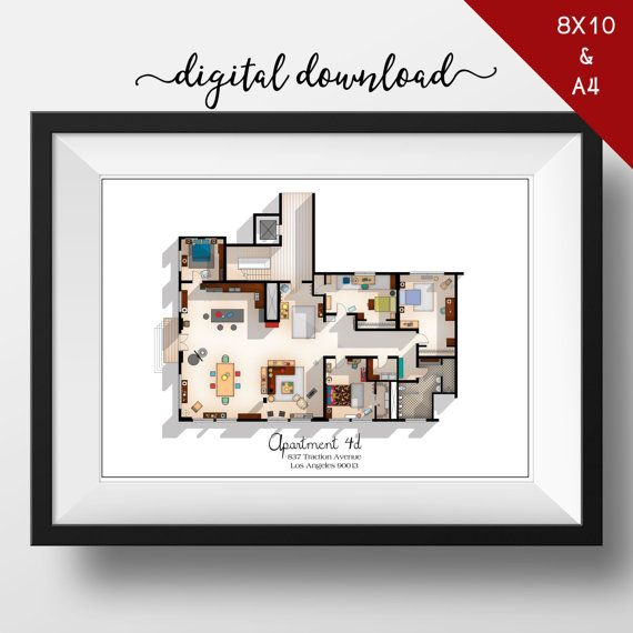 Amazing Digital Download   New Girl TV Show Apartment Floor Plan  New Girl TV Show  Layout