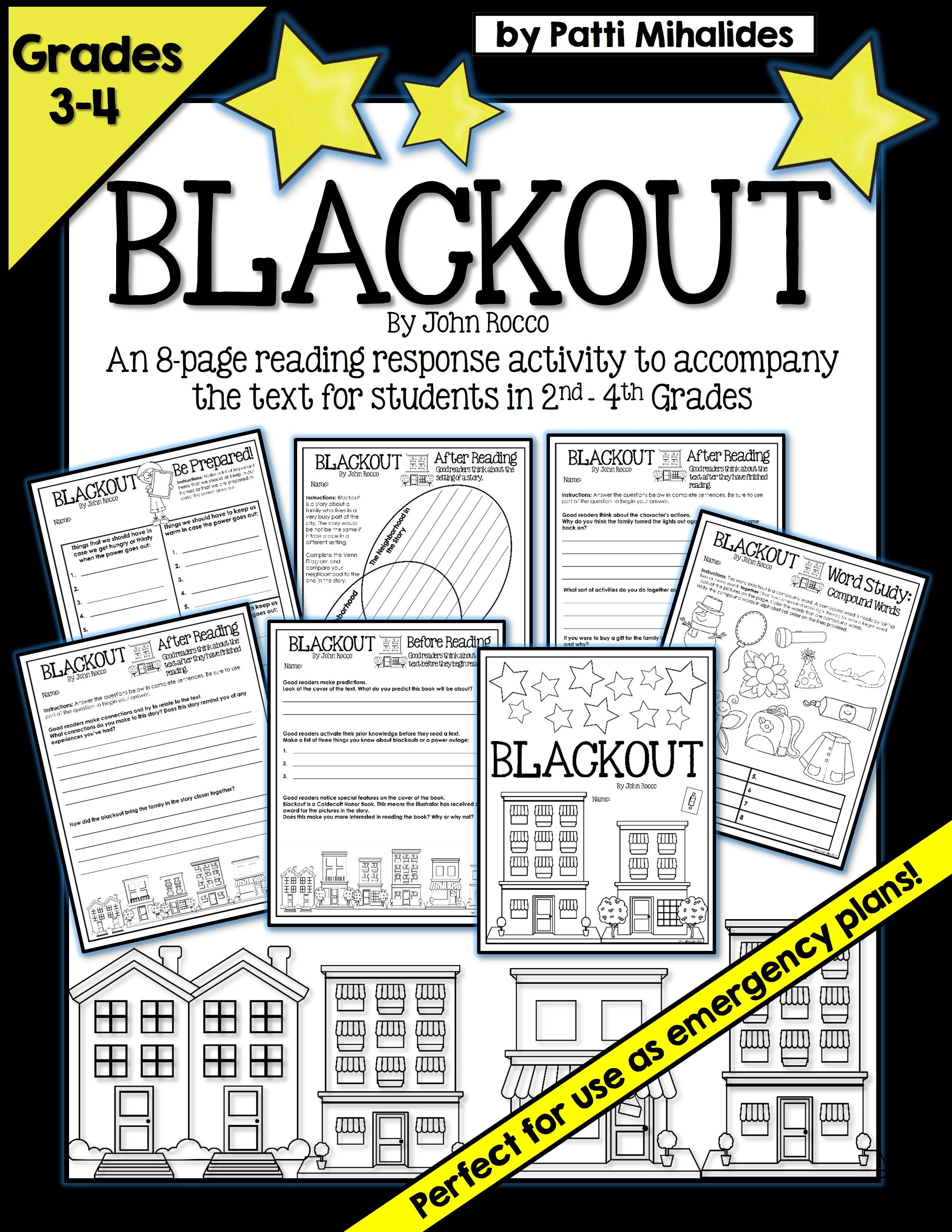 Blackout By John Rocco Reading Response Activity Worksheets For 3rd 4th Grade