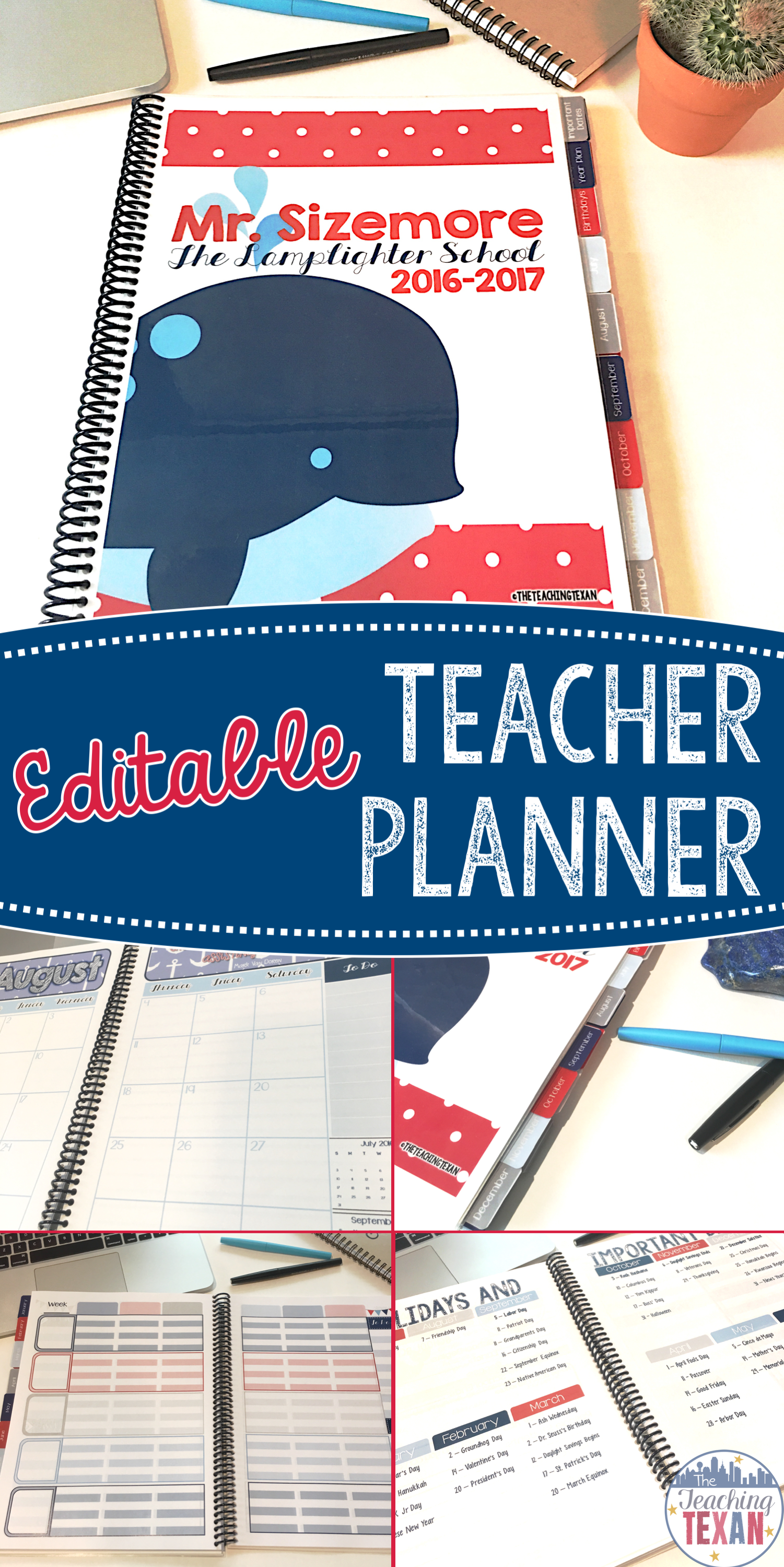 Looking for a one stop spot for teacher organization?  This editable teacher planner is the best solution for elementary and secondary teachers.  This printable Nautical theme planner can be bound or stored in a binder - your choice!  Great choice for a teacher who loves DIY!  And the fact it is super cute is an added bonus!