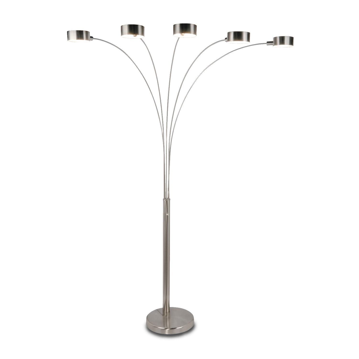 Amazon artiva usa micah modern stylish 5 arc brushed amazon artiva usa micah modern stylish 5 arc brushed steel floor lamp w dimmer switch 360 degree rotatable shades dim options bright aloadofball Image collections