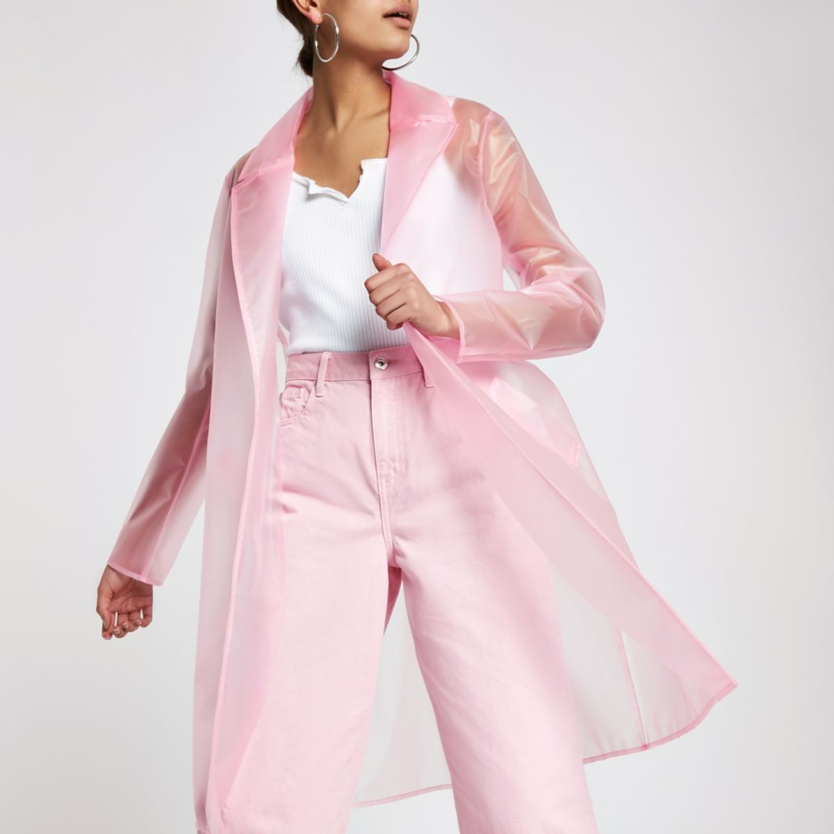 Pink plastic duster rain coat | Trajes de porrista, Trajes